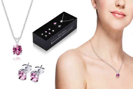 Lily Spencer London - Set of three round crystal earrings and pendant necklaces - Save 90%