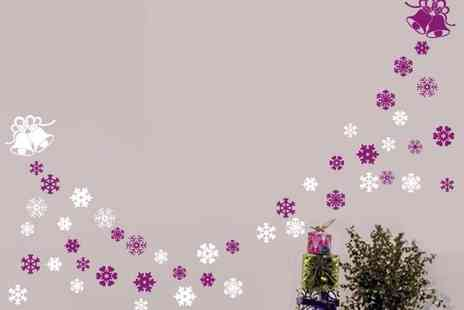 Easy Plants - 2 sets of christmas bell & snowflakes wall window stickers - Save 73%