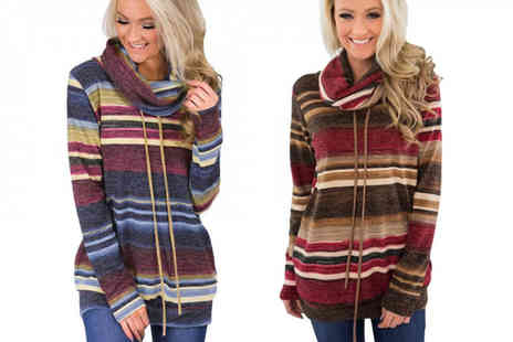 Blu Fish - Striped cowl roll neck jumper choose from two colours - Save 73%