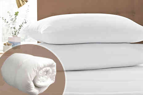 Direct Warehouse - Single, double, king or super king size soft touch mattress topper and pillow set - Save 81%