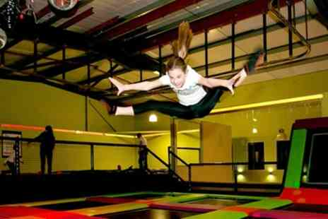 Planet Leisure - 55 Minute Trampoline Park Access with Grip Socks and Laser Quest Game for Up to Four - Save 32%