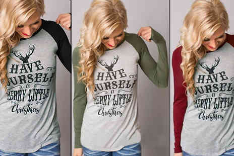 Snap One Up - Merry Little Christmas Tops Choose Three Colours - Save 74%