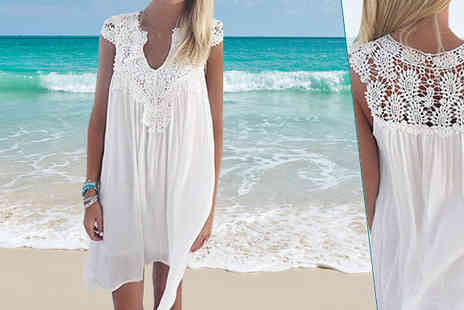 Snap One Up - Crochet Floaty Summer Dress Available in 5 Sizes - Save 75%