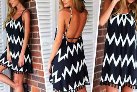Snap One Up - Aztec Backless Beach Dress - Save 75%
