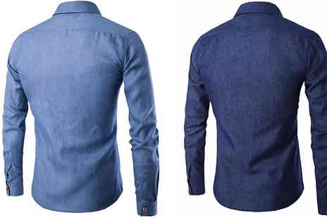 Blu Apparel - Mens Denim Slim Fit Shirt Available in 2 Colours - Save 60%
