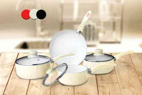 Direct 2 public - Seven piece non stick ceramic pan set choose from three colours - Save 87%