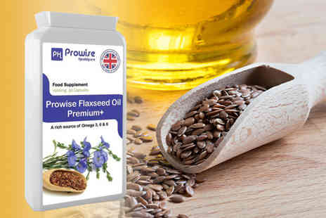 Prowise - A three month supply of flaxseed oil Premium Plus capsules - Save 0%