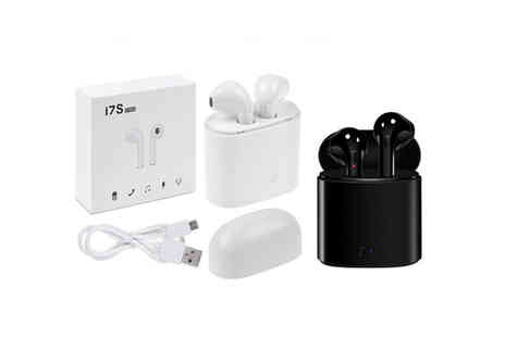 TMD Global - Pair of smartphone compatible wireless earbuds with charging case in black or white perfect for Android or iPhone - Save 76%