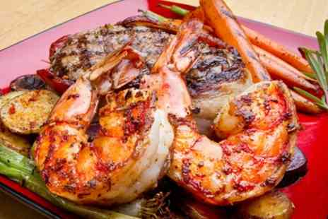 La Bella Vita - Rib Eye Steak and Tiger Prawns with Chips and Glass of Prosecco for One or Two - Save 39%