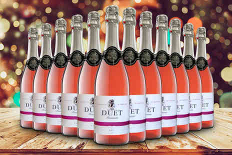 Q Regalo - 12 bottles of Sparkling Duet semi dry Spanish rose wines - Save 66%
