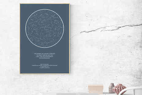 Night Sky Poster - Personalised A4, A3 or A2 night sky constellation print - Save 65%