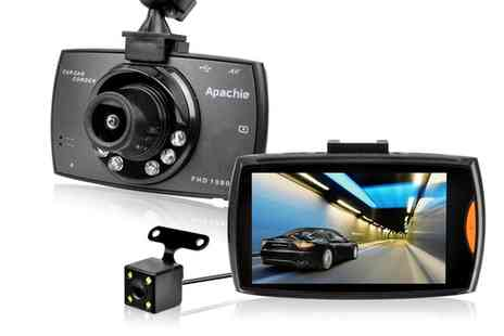 Groupon Goods Global GmbH - Apachie G50 Full Hd Dual Dash Cam with 3 Inch Lcd Screen and Optional 16Gb Micro Sd Card - Save 65%