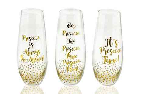 Direct 2 public - Three piece prosecco stemless flute set - Save 73%