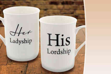 Direct 2 public - Two piece gift set of His Lordship and Her Ladyship mugs - Save 81%