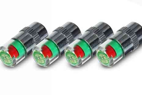 Groupon Goods Global GmbH - Four, Eight or Twelve 36 PSI Tyre Pressure Valve Caps with Led Indicators - Save 77%