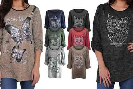 Groupon Goods Global GmbH - Owl and Butterfly Embellished Tops - Save 0%