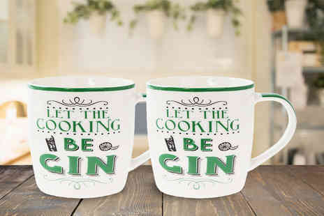 Direct 2 public - Set of 2 Let the Cooking be Gin mugs - Save 80%