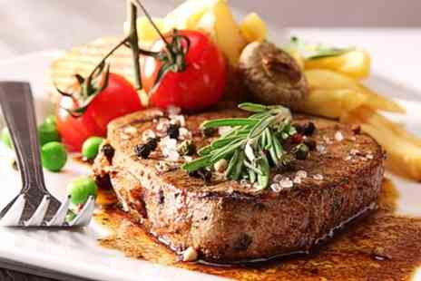 The Bull - Rib Eye Steak with Chips, Salad and Wine for Two or Four - Save 53%