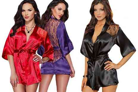 Groupon Goods Global GmbH - One or Two Lace Back Satin Kimono and Tstring Sets in Choice of Size and Colour - Save 80%
