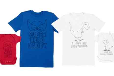 Groupon Goods Global GmbH - Superhero Daddy and Daddysaurus Matching Father and Baby Set - Save 0%