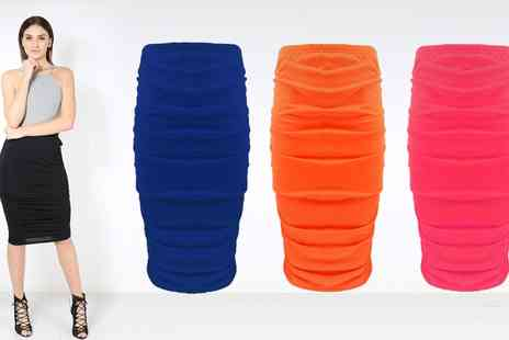 Groupon Goods Global GmbH - Be Jealous Ruched Side Tube Pencil Bodycon Skirt - Save 0%