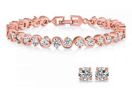 Fakurma - Swarovski Elements Rose Gold-Toned Twisted Tennis Bracelet And Earring Set - Save 89%