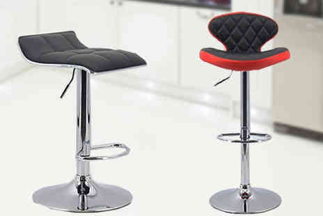 Mspackaging - Pair of Faux Leather Bar Stools in 2 Designs - Save 70%