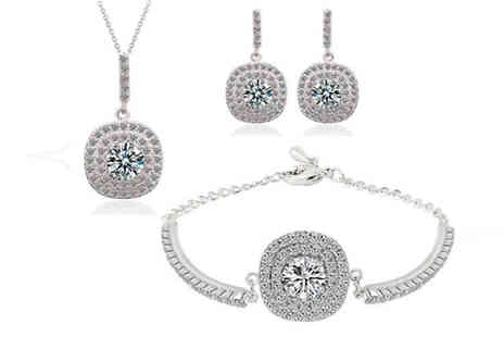 Fakurma - Double Halo Drop Earring, Pendant and Bracelet Set - Save 86%