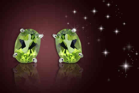 Evoked Design - Pair of peridot gemstone stud earrings in sterling silver - Save 82%