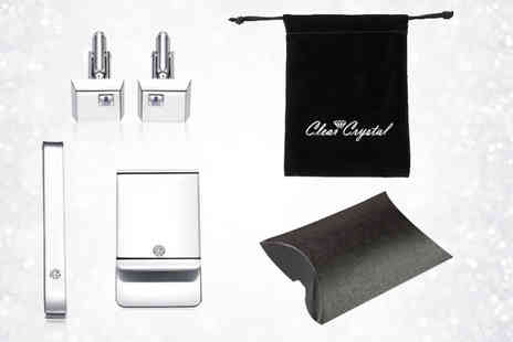 Your Ideal Gift - Three piece gents gift set made with crystals from Swarovski - Save 85%