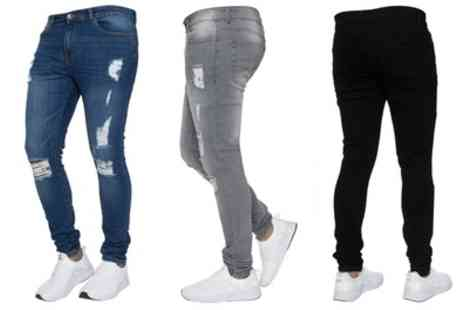 Groupon Goods Global GmbH - Mens Kruze Jeans Skinny Stretch Ripped Jeans - Save 0%