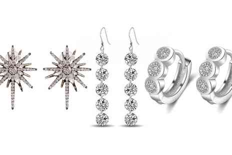 Groupon Goods Global GmbH - One or Three Pairs of Crystal Earrings - Save 0%