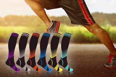 Groundlevel - Pair of high compression socks choose from four size options and six colours - Save 0%