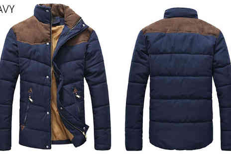 Blu Apparel - Mens Contrast Shoulder Padded Jacket Choose 3 Colours - Save 66%