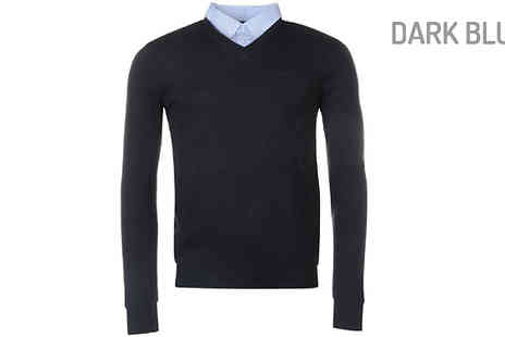 Blu Apparel - Pierre Cardin Mock V Neck Jumper in 5 Colours - Save 50%