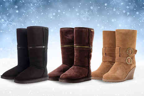 Redfoot Shoes - Pair of ladies sheepskin boots - Save 78%