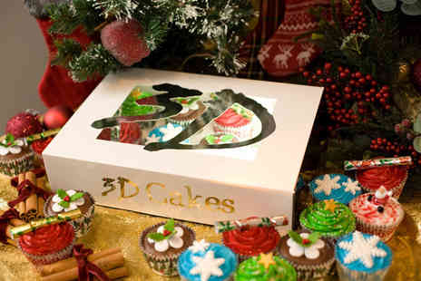 3D Cakes - Box of 12 luxury Chirstmas cupcakes choose to collect from two locations - Save 73%
