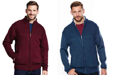 Chums - Mens Sherpa collar zip cardigan choose from two colours - Save 43%