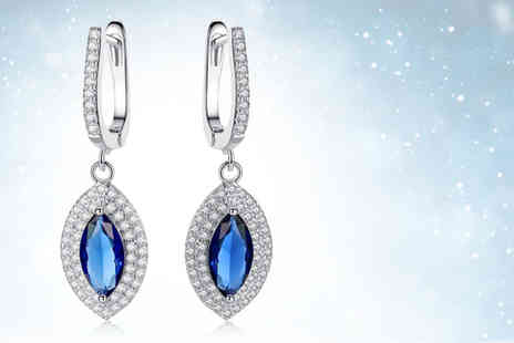 GameChanger Associates - Pair of silver plated blue princess drop earrings - Save 91%