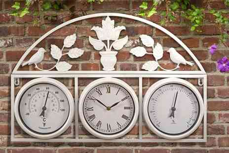 Groupon Goods Global GmbH - One or Two Garden Wall Clock and Weather Stations with Optional Batteries - Save 70%