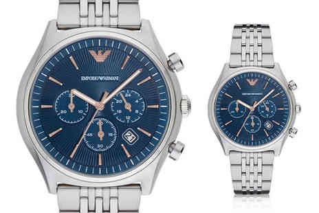 Best Watch Company - An Emporio Armani AR1974 stainless steel blue chronograph mens watch - Save 69%