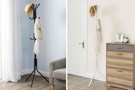 ViVo Technologies - Metal 12 hook coat and hat stand choose from two colours - Save 68%