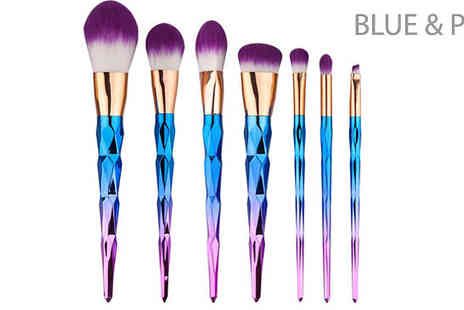 Blu Apparel - 7 Piece Unicorn Handle Makeup Brush Set Choose from 3 Colours - Save 60%