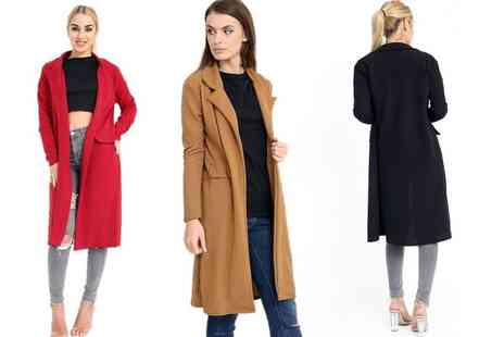 Verso Fashion - Open front trench coat choose from three colours - Save 60%