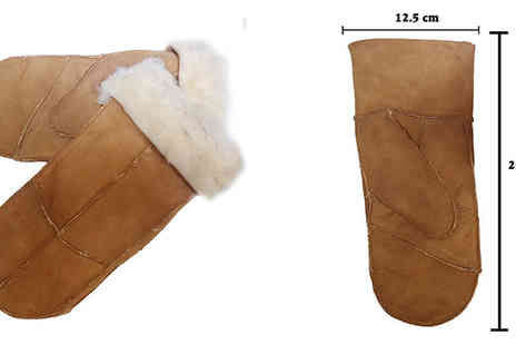 Trifolium - Ladies Tan Faux Sheepskin Mittens with Fold Back Cuff - Save 60%