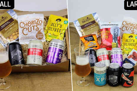 Borough Box - Craft Beer & Snack Box with Beer Glass in 2 Sizes - Save 33%