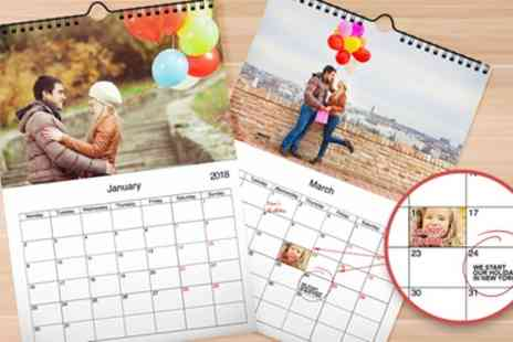 Printerpix - Up to Five Personalised A4 Wall Calendars - Save 65%