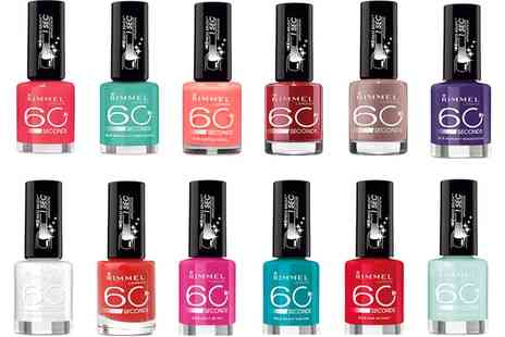 Groupon Goods Global GmbH - Eight Rimmel 60 Second Nail Polishes - Save 67%