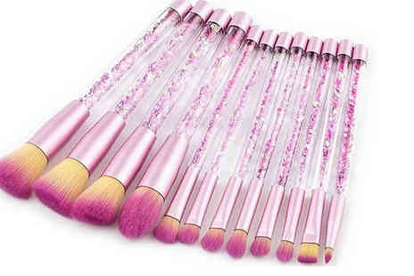 Blu Apparel - Set of 12 Glitter Makeup Brushes Choose from 2 Colours - Save 61%