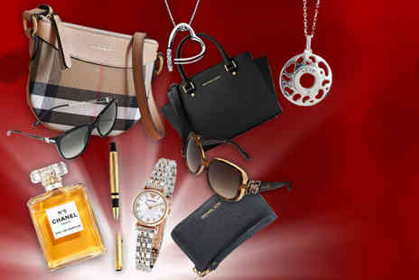 Brand Arena - Luxury mystery gift - Burberry handbag, Chanel perfume, Chopard sunglasses, an Armani watch a Hot Diamond pendant and more - Save 0%